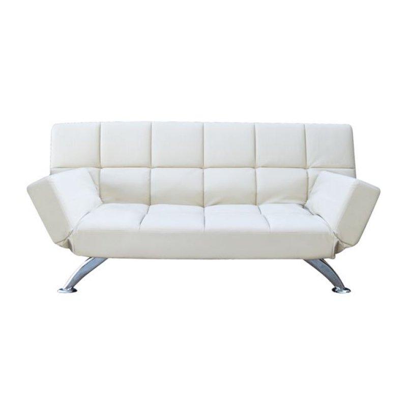 """Καναπές-κρεβάτι """"MITO-I"""" διθέσιος από τεχνόδερμα σε λευκό χρώμα 185x82x85"""