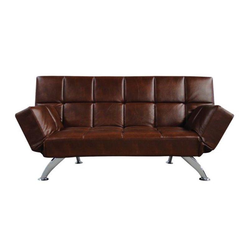 """Καναπές-κρεβάτι """"MITO-I"""" διθέσιος από τεχνόδερμα σε καφέ χρώμα 185x82x85"""
