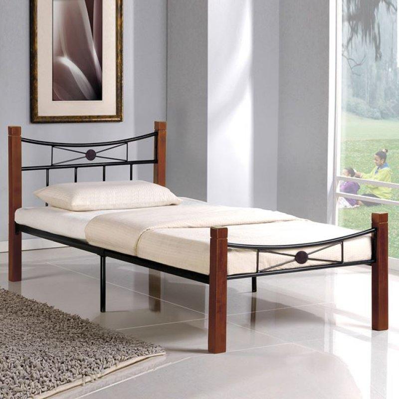 """Κρεβάτι """"FLORA"""" μονό μεταλλικό-μαύρο, ξύλο-καρυδί 108x212x82"""