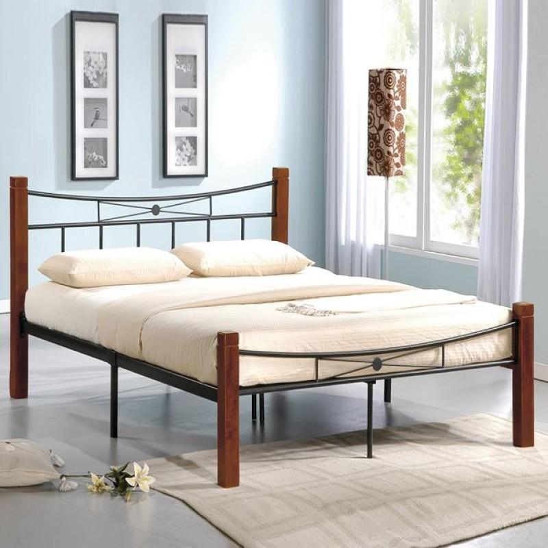 """Κρεβάτι """"FLORA"""" διπλό μεταλλικό-μαύρο, ξύλο-καρυδί 168x212x82"""