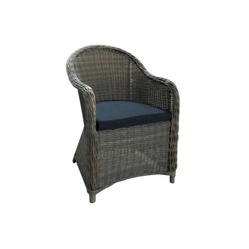 """Πολυθρόνα """"MONTANA"""" από πλέξη wicker σε γκρί-καφέ χρώμα 60x70x88"""