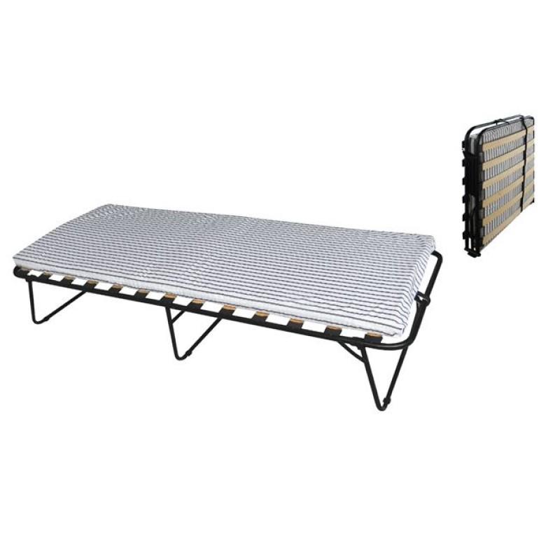 """Κρεβάτι-ράντζο """"CLEMENT"""" πτυσ/μενο μεταλλικό σε μαύρο χρώμα 79x192x40"""
