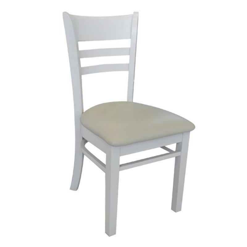 """Καρέκλα """"CABIN"""" ξύλινη-pvc σε λευκή χρώμα 42x48x91"""