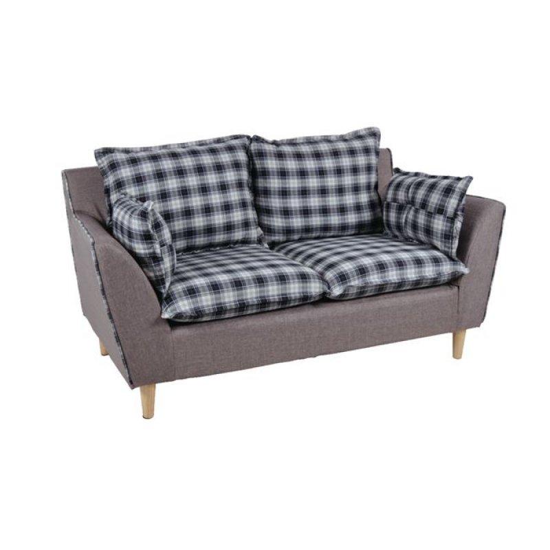 """Καναπές """"DELLA"""" διθέσιος υφασμάτινος σε καφέ χρώμα 153x83x85"""