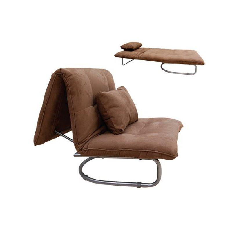 """Πολυθρόνα-κρεβάτι """"LUCY"""" από ύφασμα σε καφέ χρώμα 94x90x90"""