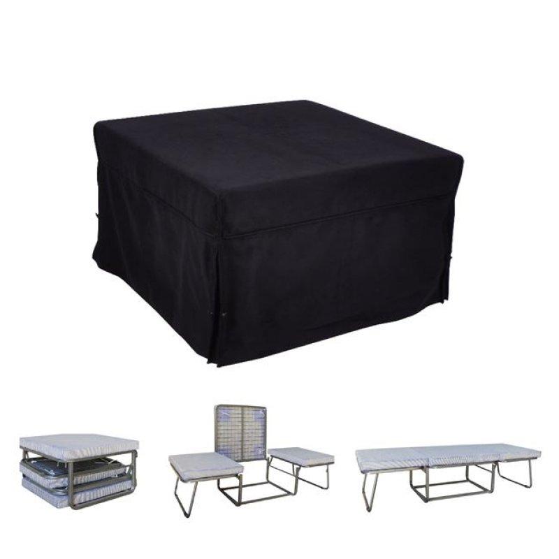 """Σκαμπώ-κρεβάτι """"LOGAN"""" από ύφασμα σε χρώμα μαύρο 75x75x47"""