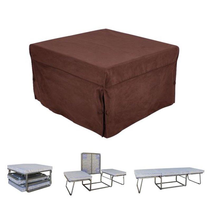 """Σκαμπώ-κρεβάτι """"LOGAN"""" από ύφασμα σε χρώμα σκούρο καφέ 75x75x47"""
