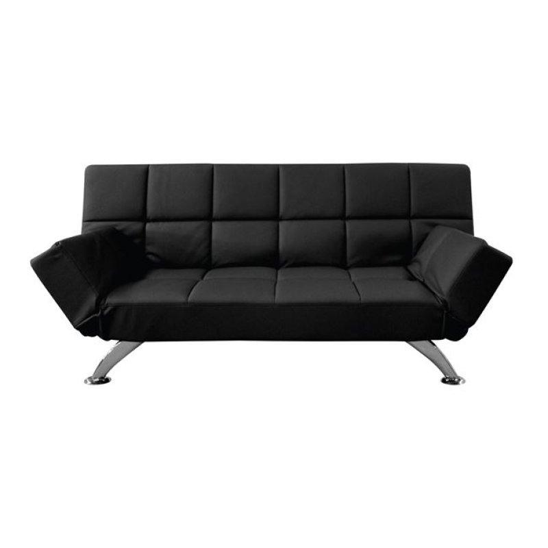 """Καναπές-κρεβάτι """"MITO-I"""" διθέσιος από τεχνόδερμα σε μαύρο χρώμα 185x82x85"""