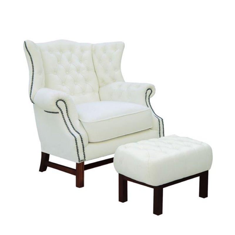 """Πολυθρόνα-σκαμπώ """"CHESTERFIELD"""" δέρμα σε χρώμα λευκό 89x79x104"""