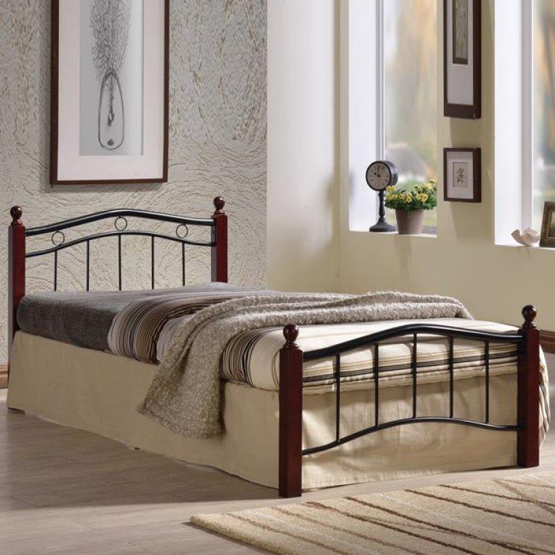 """Κρεβάτι """"VICTOR"""" μονό μεταλλικό-μαύρο, ξύλο-καρυδί 98x212x82"""