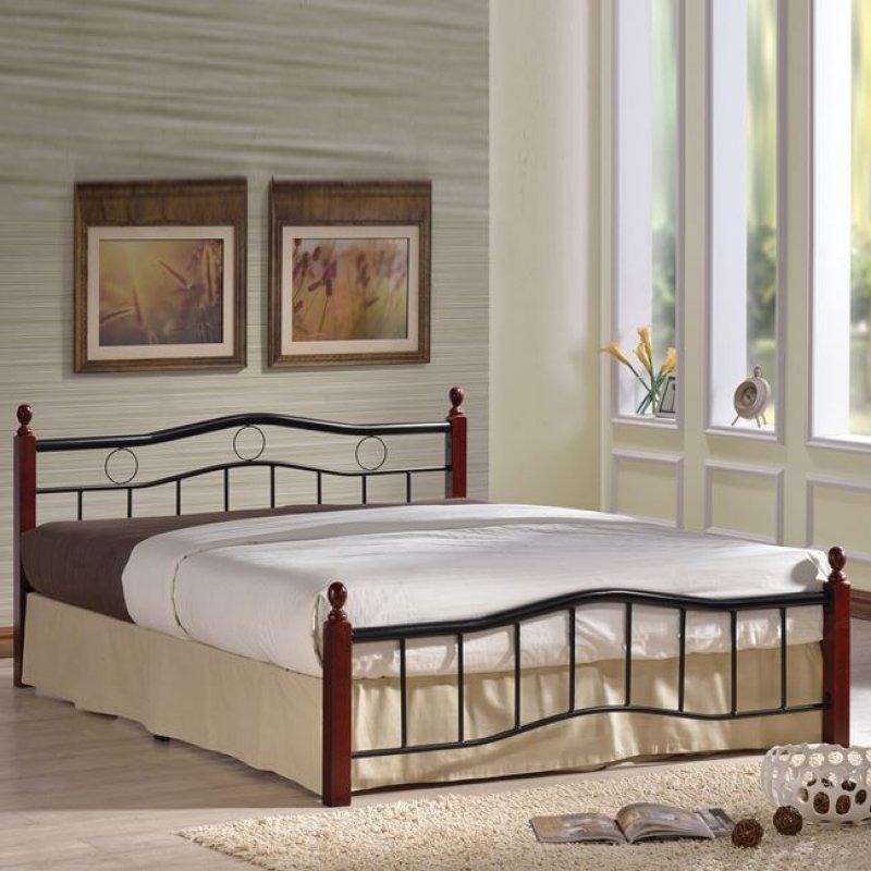 """Κρεβάτι """"VICTOR"""" διπλό μεταλλικό-μαύρο, ξύλο-καρυδί 158x212x82"""