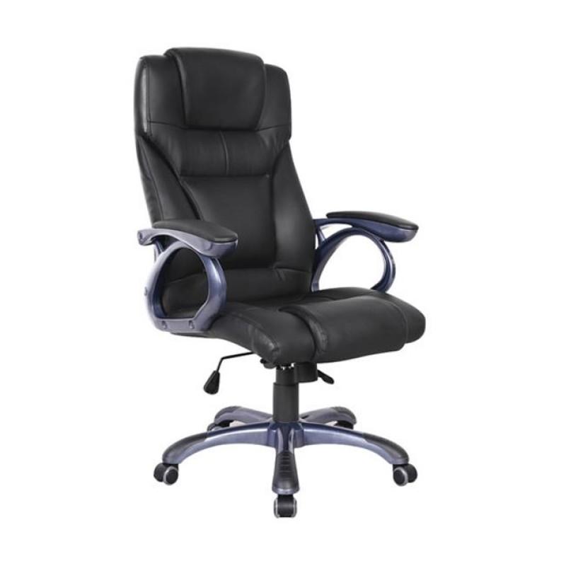 Πολυθρόνα διευθυντή από τεχνόδερμα σε μαύρο χρώμα 67x70x117/126