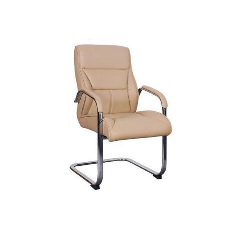 Πολυθρόνα επισκέπτη από τεχνόδερμα σε μπεζ χρώμα 59x73x102