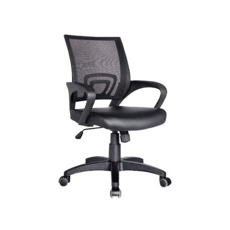 Πολυθρόνα εργασίας από ύφασμα mesh και τεχνόδερμα σε μαύρο χρώμα 54x56x91/101