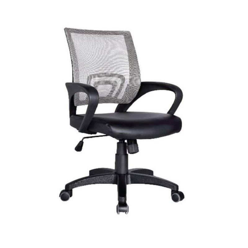 Πολυθρόνα εργασίας από ύφασμα mesh και τεχνόδερμα σε γκρι-μαύρο χρώμα 54x56x91/101