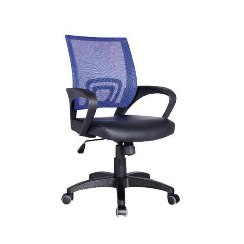 Πολυθρόνα εργασίας από ύφασμα mesh και τεχνόδερμα σε μπλε-μαύρο χρώμα 54x56x91/101