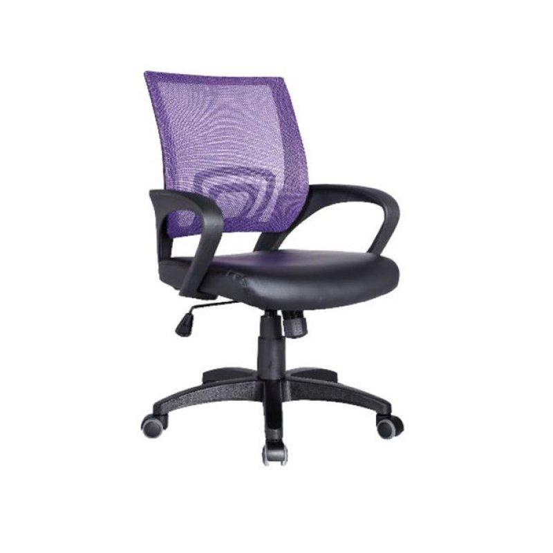 Πολυθρόνα εργασίας από ύφασμα mesh και τεχνόδερμα σε μωβ-μαύρο χρώμα 54x56x91/101
