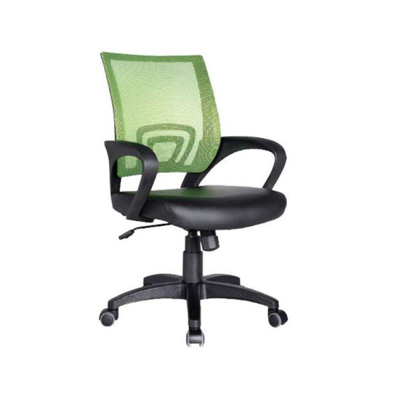 Πολυθρόνα εργασίας από ύφασμα mesh και τεχνόδερμα σε λαχανί-μαύρο χρώμα 54x56x91/101
