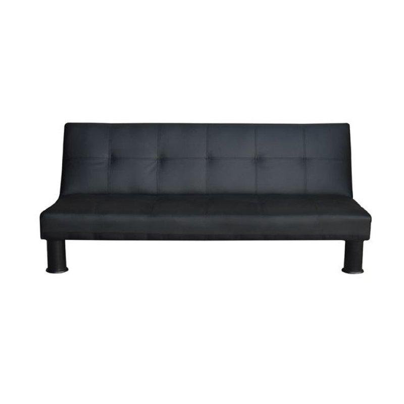 """Καναπές-κρεβάτι """"RONALD"""" τριθέσιος από τεχνόδερμα σε χρώμα μαύρο 190x89x82"""