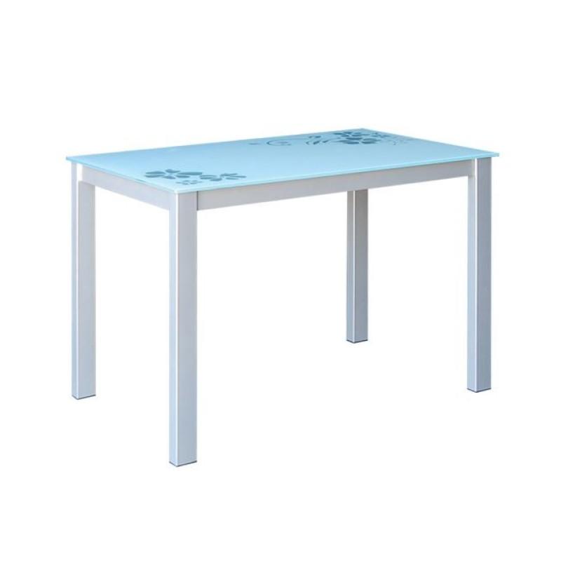 """Τραπέζι """"GORDON"""" μεταλλικό σε χρώμα γκρι με γυάλινη επιφάνεια 110x70x75"""