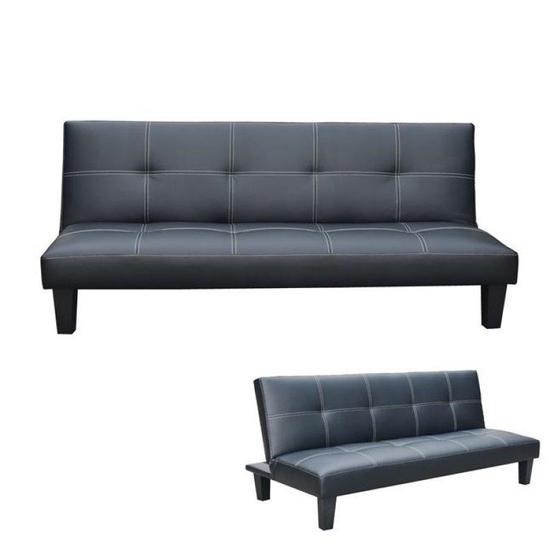 """Καναπές-κρεβάτι """"RONALDO"""" τριθέσιος  από τεχνόδερμα σε μαύρο χρώμα 192x90x80"""