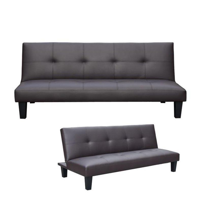 """Καναπές-κρεβάτι """"RONALDO"""" τριθέσιος από τεχνόδερμα σε καφέ χρώμα 192x90x80"""