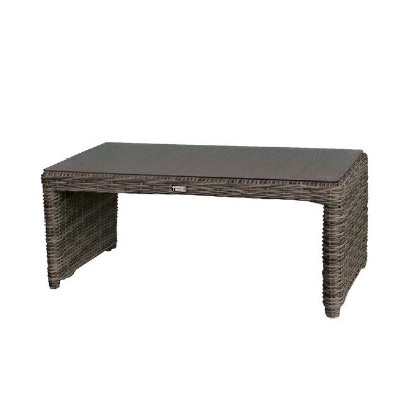 """Τραπέζι σαλονιού """"MONTANA"""" από πλέξη wicker σε γκρι-καφέ χρώμα 100x50x45"""