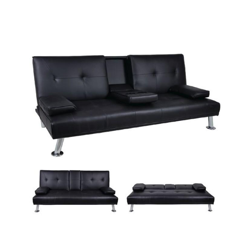 """Καναπές-κρεβάτι """"RUBEN"""" τριθέσιος από τεχνόδερμα σε μαύρο χρώμα 179x85x84"""