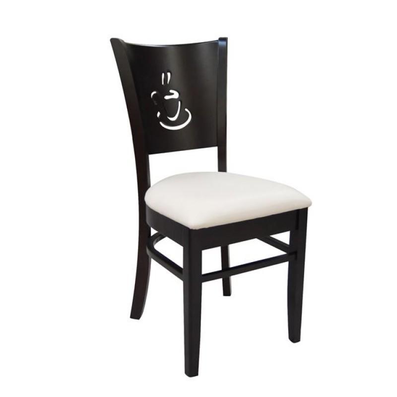 """Καρέκλα """"CAFE"""" ξύλινη-τεχνόδερμα σε σκούρο καρυδί 42x43x91"""