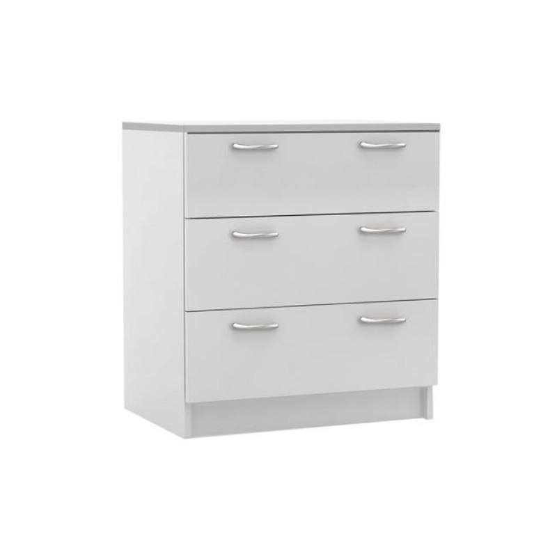 """Συρταριέρα """"DECON"""" με 3 συρτάρια σε λευκό χρώμα 60x40x68"""