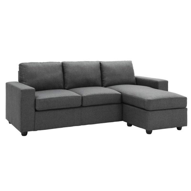 """Καναπές """"PORTLAND"""" γωνία-αναστρέψιμος από ύφασμα σε γκρι χρώμα 203x140x85"""