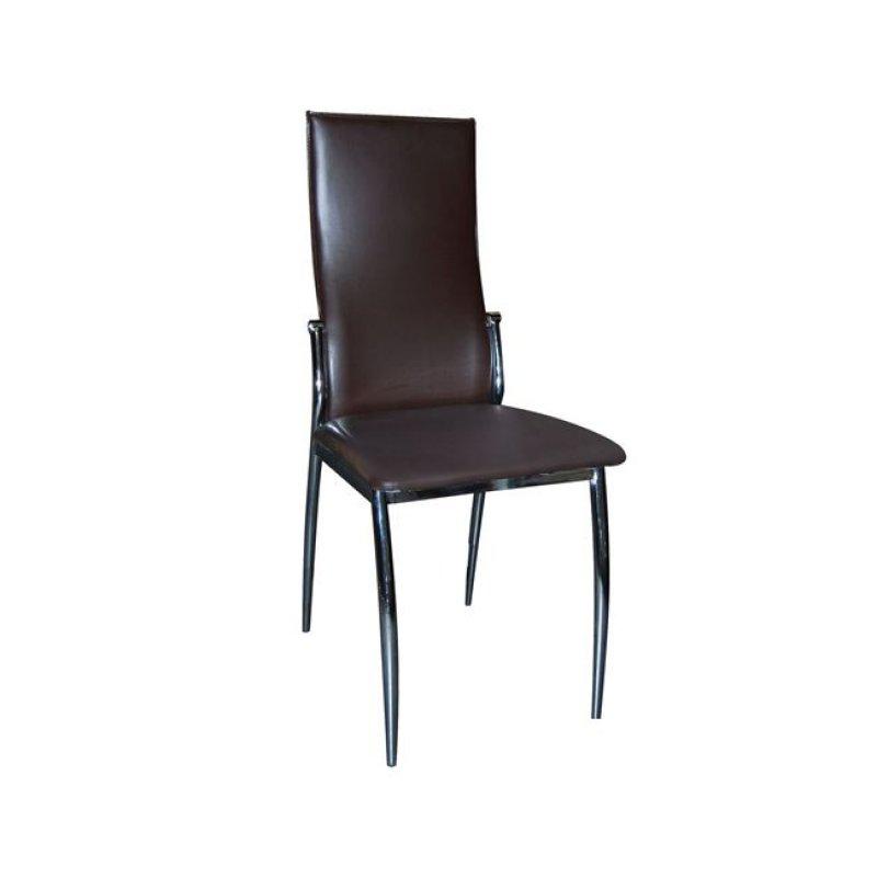 """Καρέκλα """"FRESH"""" χρωμίου-pvc σε σκούρο καφέ χρώμα 42x55x96"""