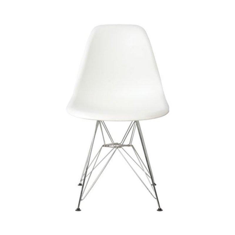 """Καρέκλα """"ART Wood"""" χρωμίου-abs σε χρώμα λευκό ματ 46x55x82"""