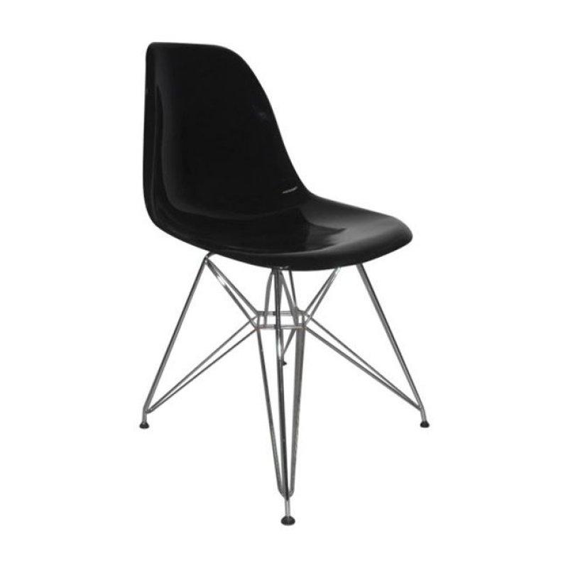 """Καρέκλα """"ART Wood"""" χρωμίου-abs χρώματος μαύρο ματ 46x55x82"""