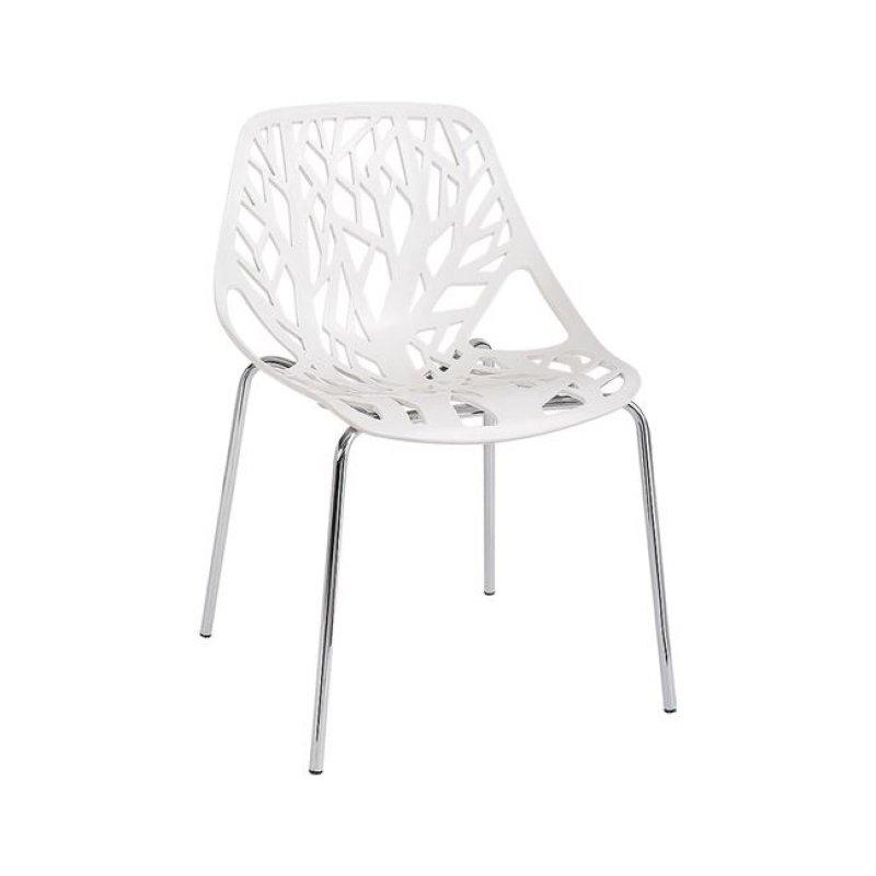 """Καρέκλα """"LINEA"""" χρωμίου-πολυπροπυλενίου χρώματος λευκή 54x57x81"""
