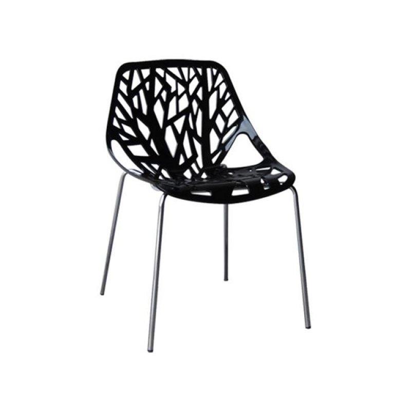 """Καρέκλα """"LINEA"""" χρωμίου-πολυπροπυλενίου χρώματος μαύρη 54x57x81"""