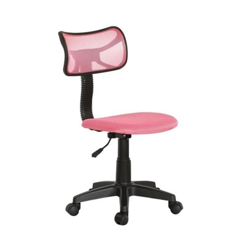 Πολυθρόνα εργασίας από ύφασμα mesh σε ροζ χρώμα 46x52x77/89