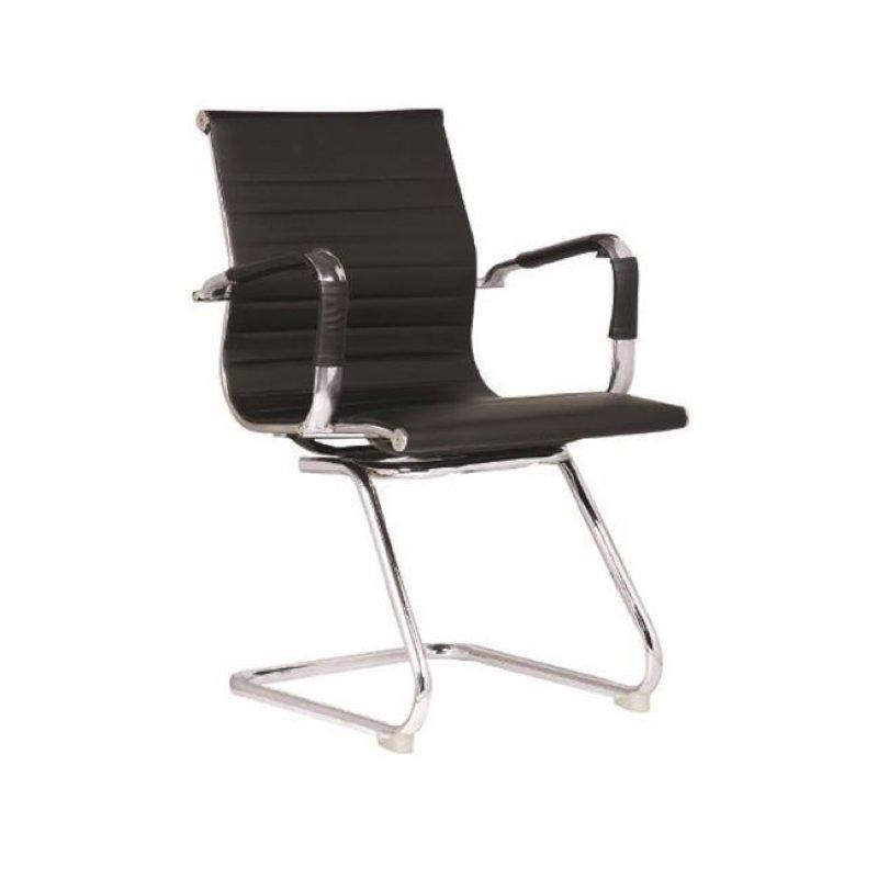 Πολυθρόνα επισκέπτη από τεχνόδερμα σε μαύρο χρώμα 54x59x95