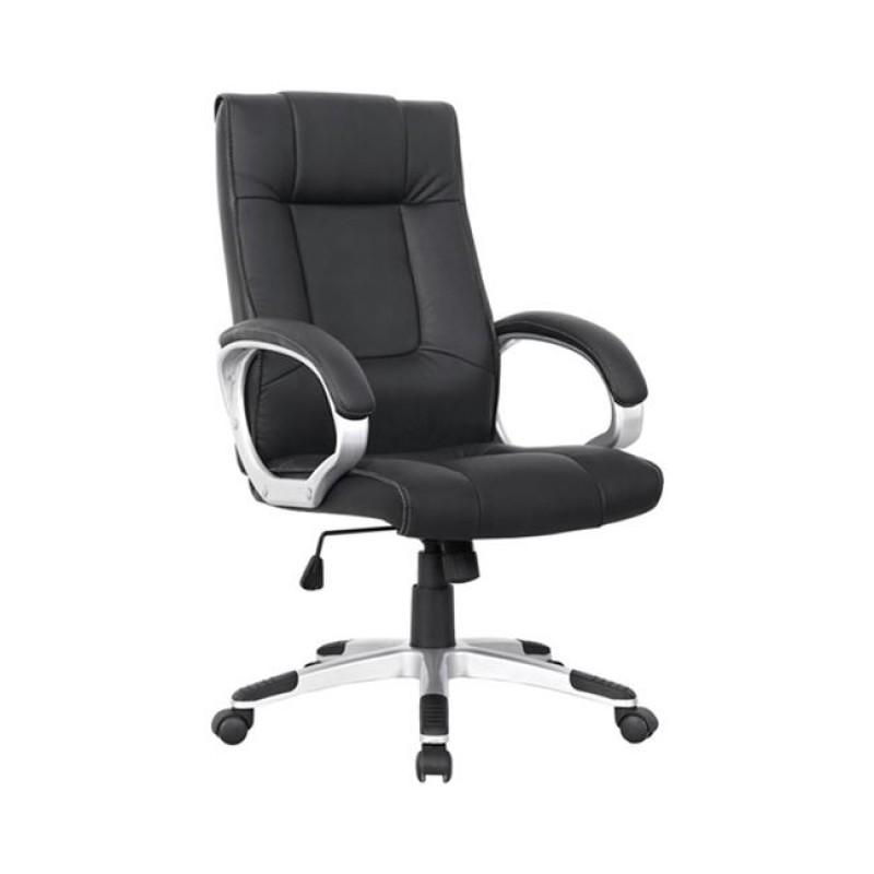 Πολυθρόνα διευθυντή από τεχνόδερμα σε μαύρο χρώμα 62x69x109/117