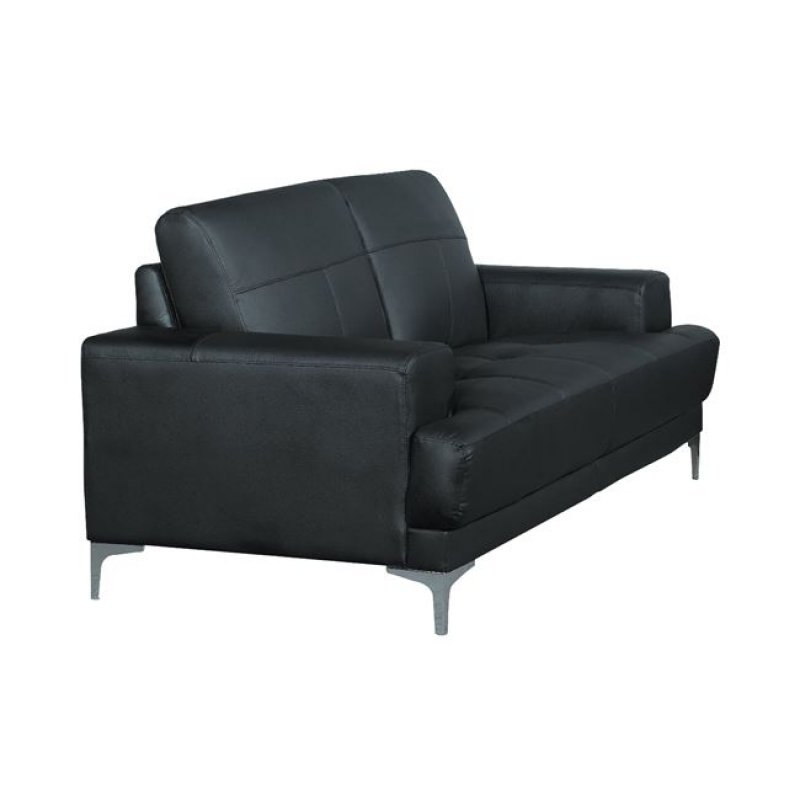 """Καναπές """"FORUM"""" τριθέσιος δέρμα σε μαύρο χρώμα 201x88x84"""