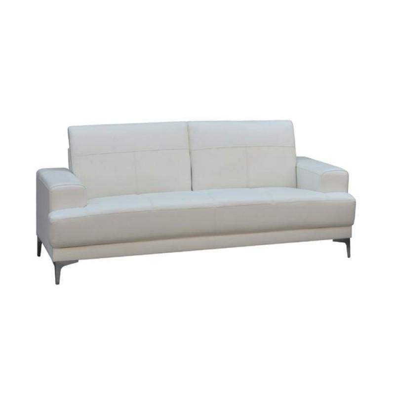 """Καναπές """"FORUM"""" τριθέσιος δέρμα σε λευκό χρώμα 201x88x84"""