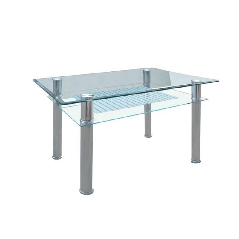 """Τραπέζι """"VERON"""" μεταλλικό με γυάλινη επιφάνεια 90x60x75"""