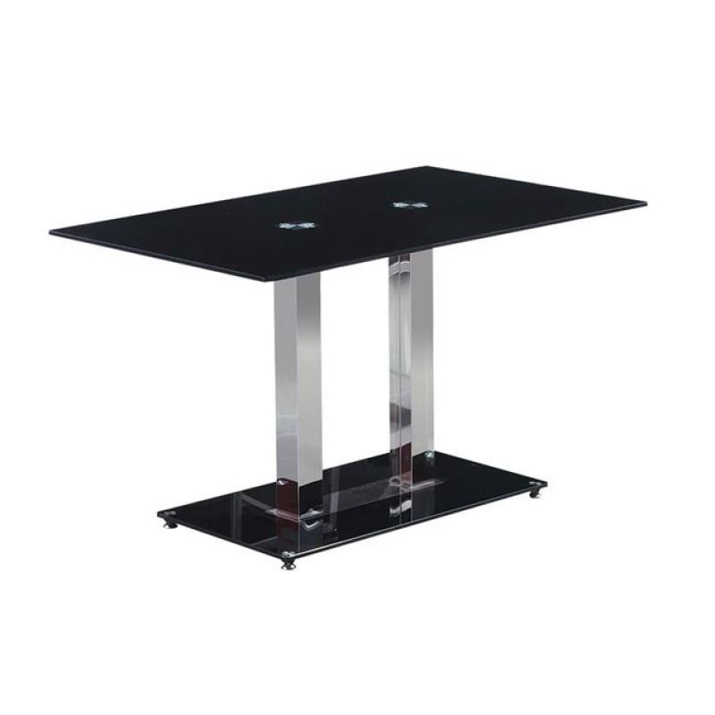 """Τραπέζι """"VENTI"""" αλουμινίου-γυαλί σε μαύρο χρώμα 150x80x75"""