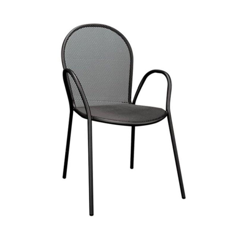 """Πολυθρόνα """"ANTICO"""" μεταλλική με πλέγμα σε μαύρο χρώμα 54x62x89"""