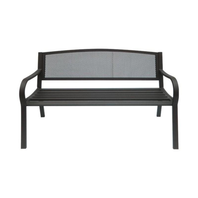 """Παγκάκι """"PANGO"""" μεταλλικό με πλέγμα σε μαύρο χρώμα 124x57x78"""