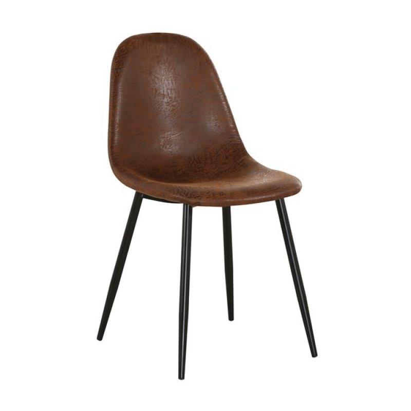 """Καρέκλα """"CELINA"""" μεταλλική μαύρη με ύφασμα suede καφέ 45x54x85"""
