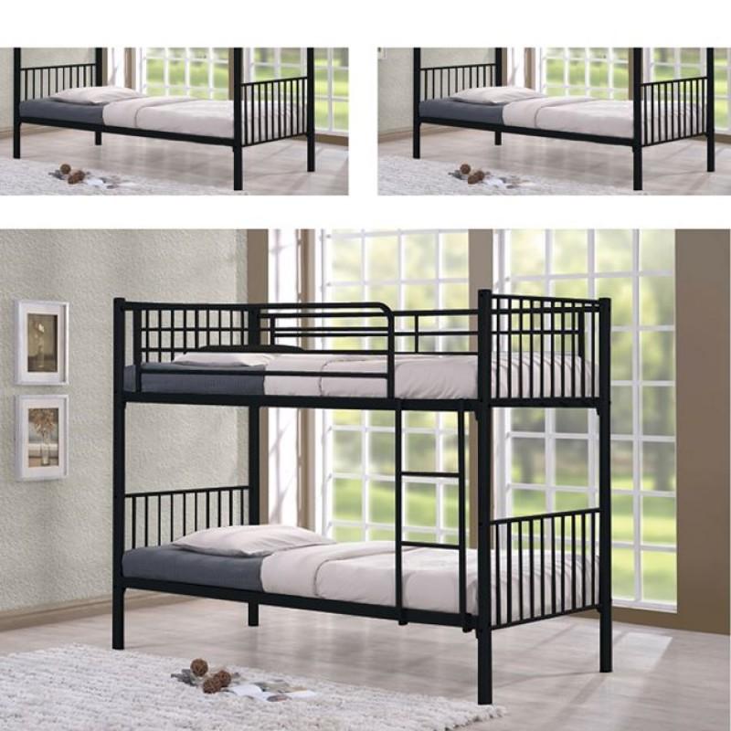 """Kρεβάτι-κουκέτα """"BUNK"""" μεταλλική σε μαύρο χρώμα  98x212x160"""