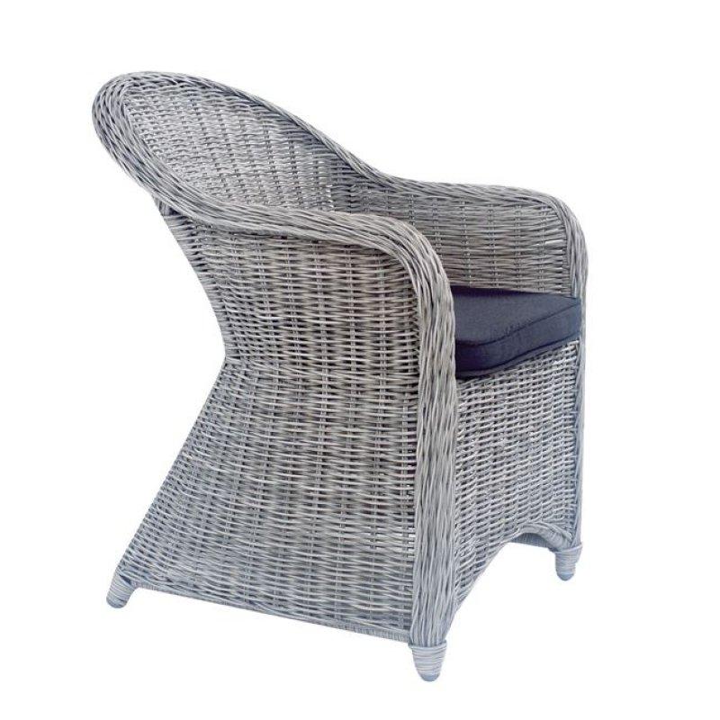 """Πολυθρόνα """"MONTANA"""" αλουμινίου με πλέξη wicker σε χρώμα γκρί 60x72x85"""