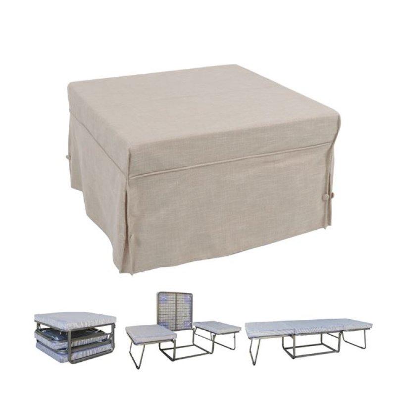 """Σκαμπώ-κρεβάτι """"LOGAN"""" από ύφασμα σε χρώμα εκρού 75x75x47"""