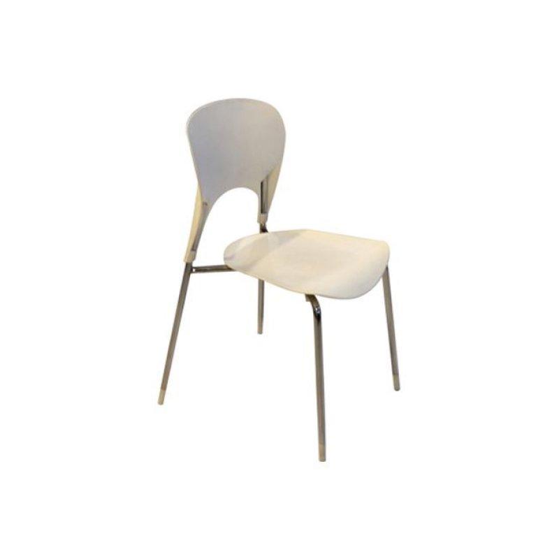 """Καρέκλα """"ISIS"""" χρωμίου-πολυπροπυλενίου σε χρώμα ivory 50x52x79"""